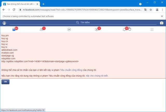 những tên miền bị facebook chặn
