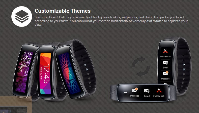 Customizable Themes make Samsung Gear Fit looks even cooler! Suitable for both left/right handed user