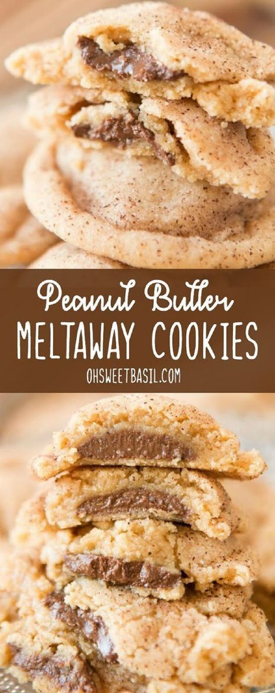 These are the best peanut butter cookies I've ever had. Peanut Butter Meltaway Cookies are soft peanut butter cookies, stuffed with chocolate and rolled in cinnamon sugar!