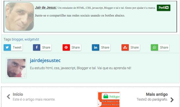 A imagem mostra dois perfis diferentes, de autores diferentes num mesmo blog/site Blogger, feito de forma automatizada pelo template.