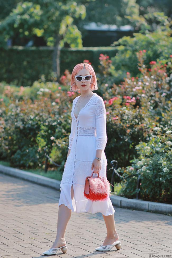 Japanese Fashion Blogger,MizuhoK,20190728OOTD, lace dress,mules, feather bag, cateye sunglasses