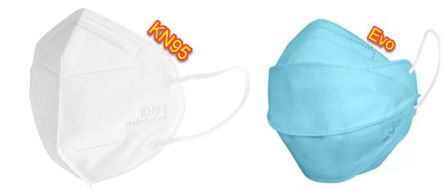 Jika dilihat dari desainnya, masker evo memiliki penampakan berbeda dengan KN95, dimana pada evo masker dirancang lebih mudah menutupi wajah sehingga evo memenuhi 3 syarat masker pada point pembahasan di atas. Atau bisa dibilang dari model evo masker menyerupai masker bedah 3 layer namun memiliki kemampuan setara KN95 yang bisa digunakan pada aktifitas sehari-hari.