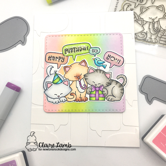 Happy Birthday to you by Claire features Speech Bubbles, Newton's Birthday Trio, and Frames Squared by Newton's Nook Designs; #inkypaws, #newtonsnook, #cardmaking, #catcards, #birthdaycards