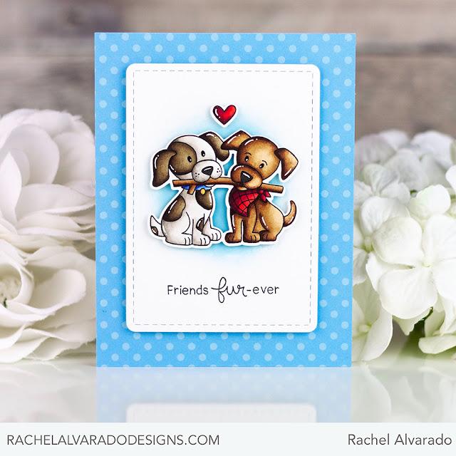 Friends Fur-ever Puppy Card by July Guest Designer Rachel Alvarado | Puppy Pals Stamp Set by Newton's Nook Designs #newtonsnook #handmade