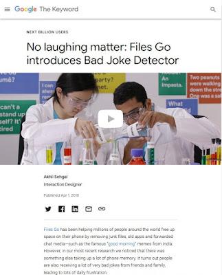 Poisson d'Avril 2018 de Google : Bad Joke Detector