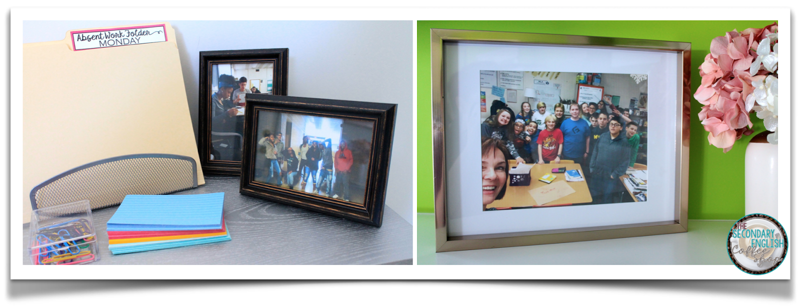 Build classroom community by keeping framed pictures of students within the classroom!