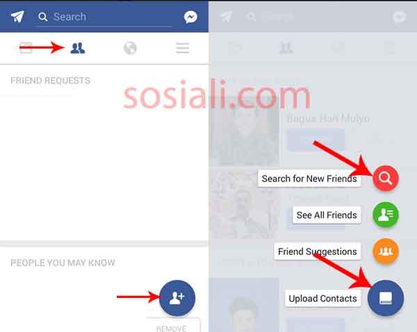Mencari teman di Facebook dengan email dan no hp