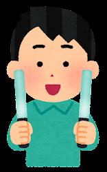 エメラルド色のペンライトを持つ人のイラスト(男性)