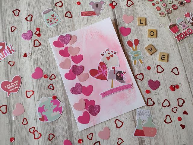 St Valentin : Tuto Carte Nuée de cœurs - Sweet talk simple stories