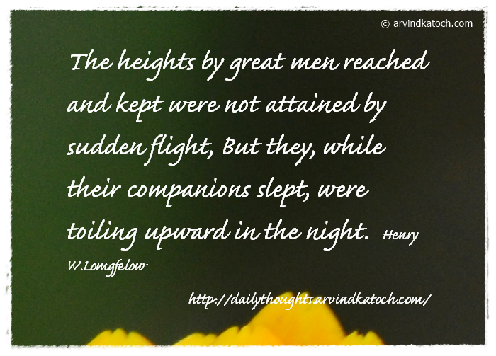 Daily Thought, Heights, great men, companion, night,