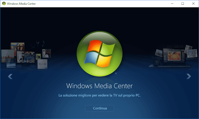 Windows Media Center per Windows 10 in italiano