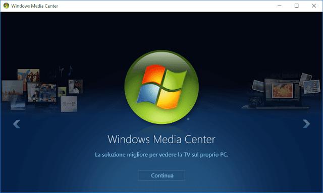 Windows Media Center per Windows 10 in italiano