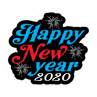 blue with red with write happy new year 2020