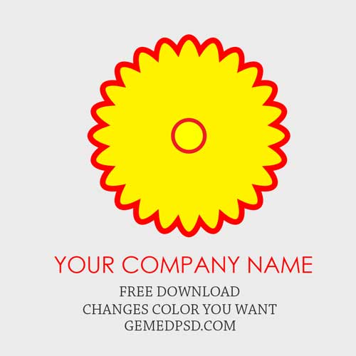 free logo yellow flower shaped red outline psd template free logo
