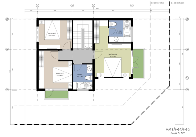 mặt bằng thiết kế tầng 2 BT01