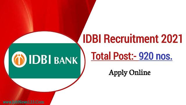 IDBI Bank Recruitment 2021:
