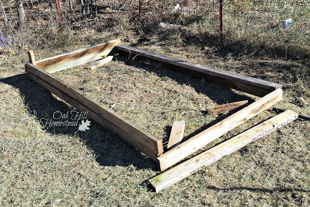How to build a raised garden bed with salvaged boards.