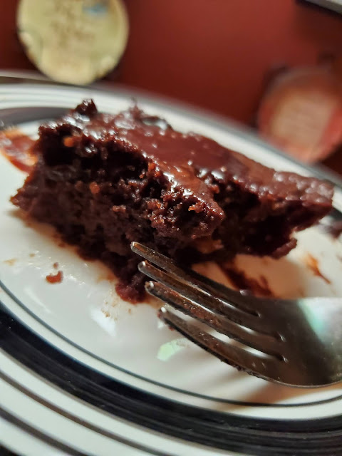 dark chocolate banana brownie with chocolate glaze