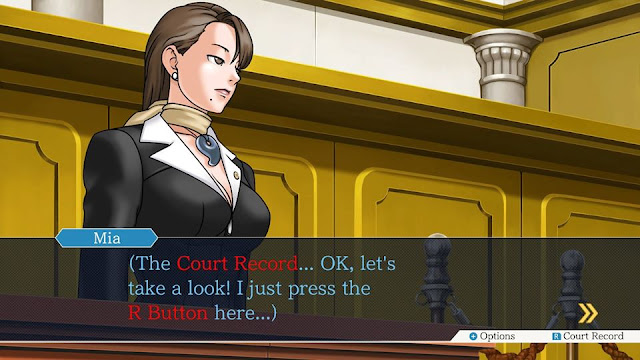 Phoenix Wright Ace Attorney Trilogy Switch Mia Fey Court Record R button monologue