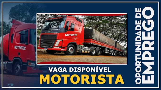 Nutritec Transportes abre vagas para Motorista Carreteiro