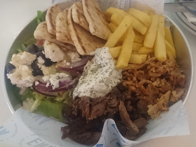 Ena Greek Street Food, Forest Hill, lamb and chicken open plate