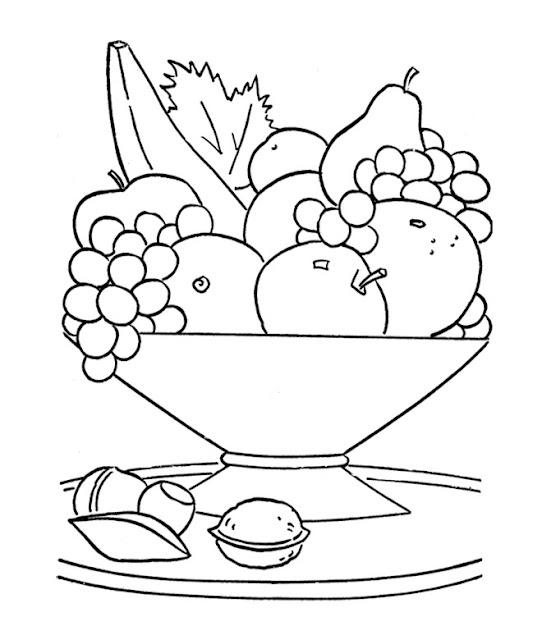 coloriage panier de fruits