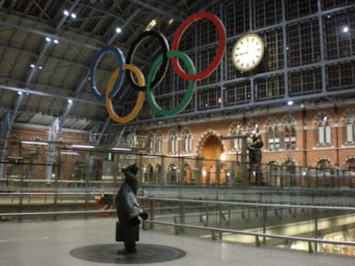 Olympic Rings at St Pancras railway station in January 2012