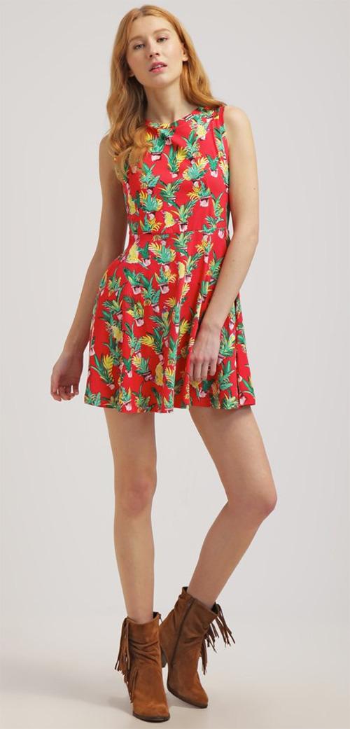 Robe courte rouge à fleurs Billabong