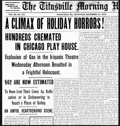 Image result for chicago theater fire in 1903