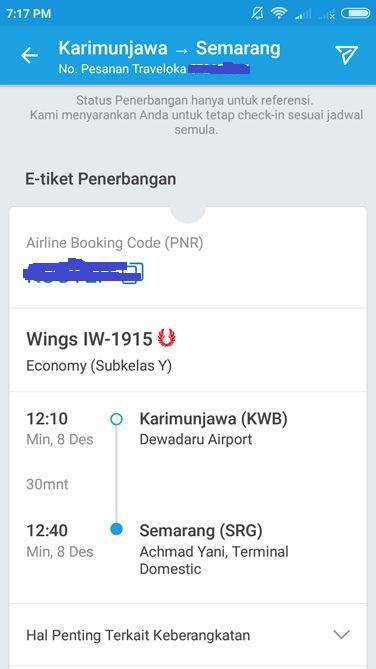 Informasi E-tiket yang dipesan