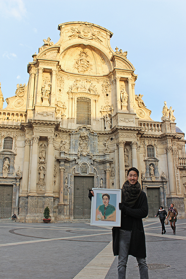 Custom Portrait fashion illustration, Guillaume with his portrait, standing in front of Murcia Cathedral, Catedral de Murcia in Spain