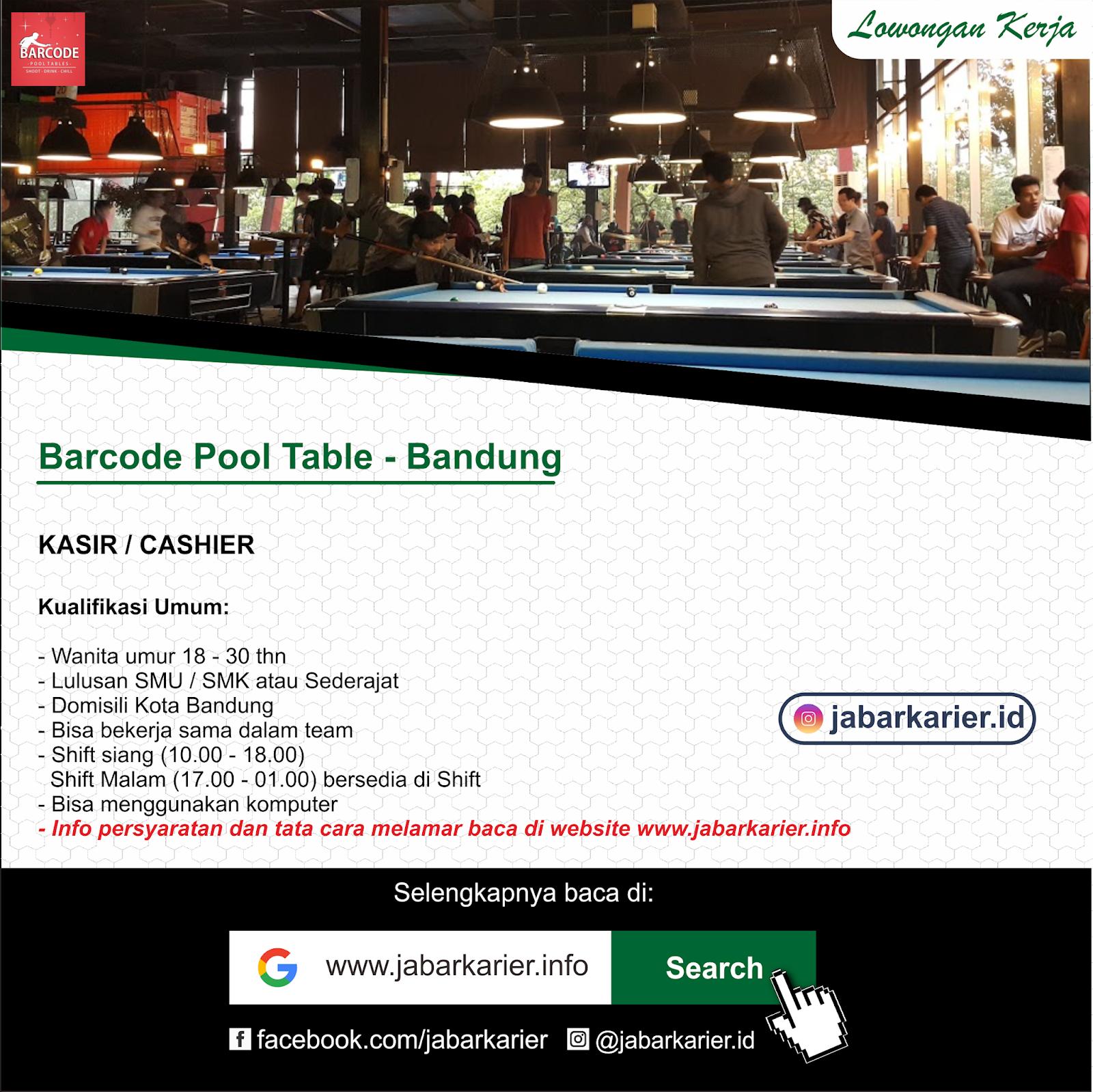 Lowongan Kasir Barcode Pool Tables Bandung Lowongan Kerja Terbaru Tahun 2020 Informasi Rekrutmen Cpns Pppk 2020