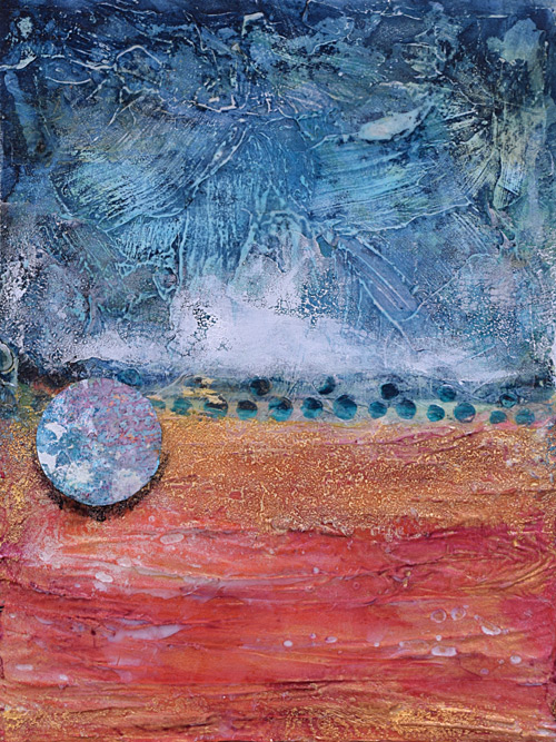 plaster, glass and collage