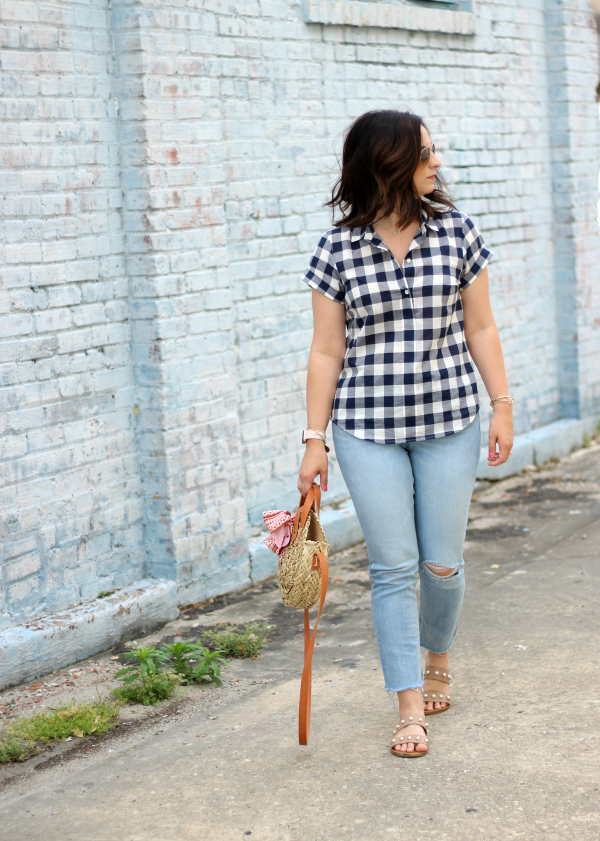 north carolina blogger, gingham shirt, how to style a straw bag, mom style, style on a budget, target straw bag