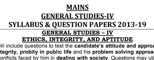 UPSC IAS Mains GS 4 Ethics Previous Year Questions PDF