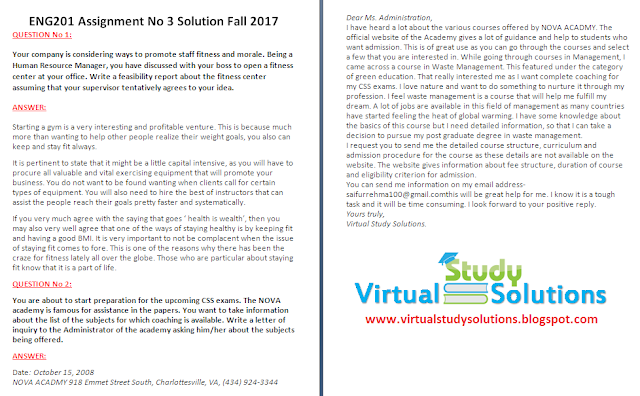 ENG201 Assignment No 3 Solution Fall 2017 Sample Preview