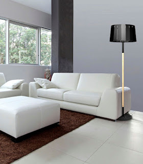 modern black floor lamp feats brown fluffy area rug mixed with impeccable white sofa suit