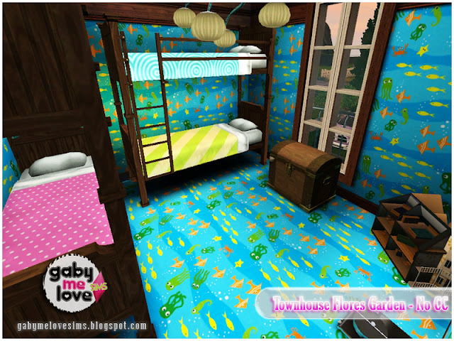 Townhouse Flores Garden |NO CC| ~ Lote Residencial, Sims 3. Habitación de niños.