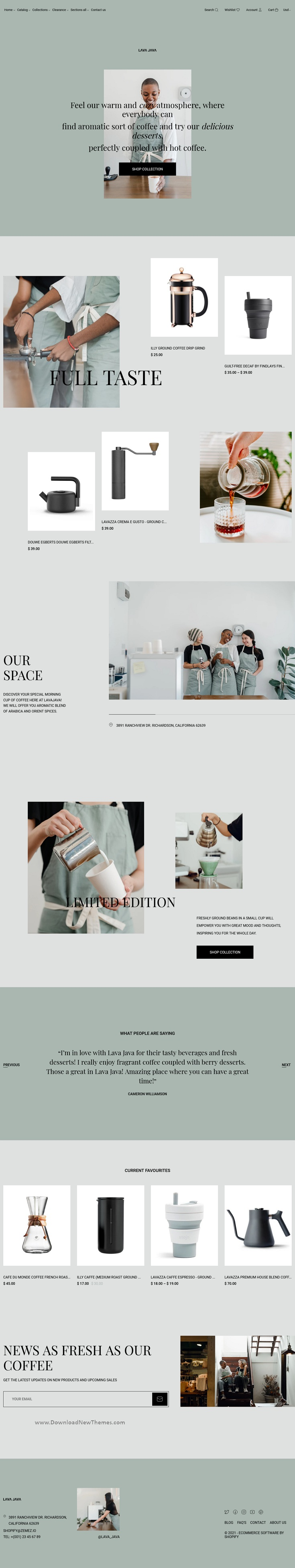 Lava Java Shopify Coffee Shop Theme for Barista