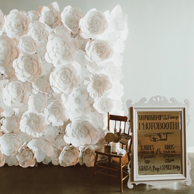 pretty bohemian wedding decor inspiration | handmade paper flower backdrop for photo booth