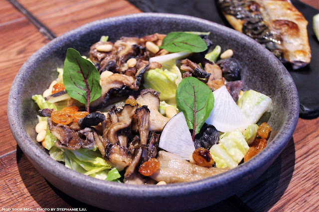 Mushroom Salad with Pine Nuts at Oiji in New York City