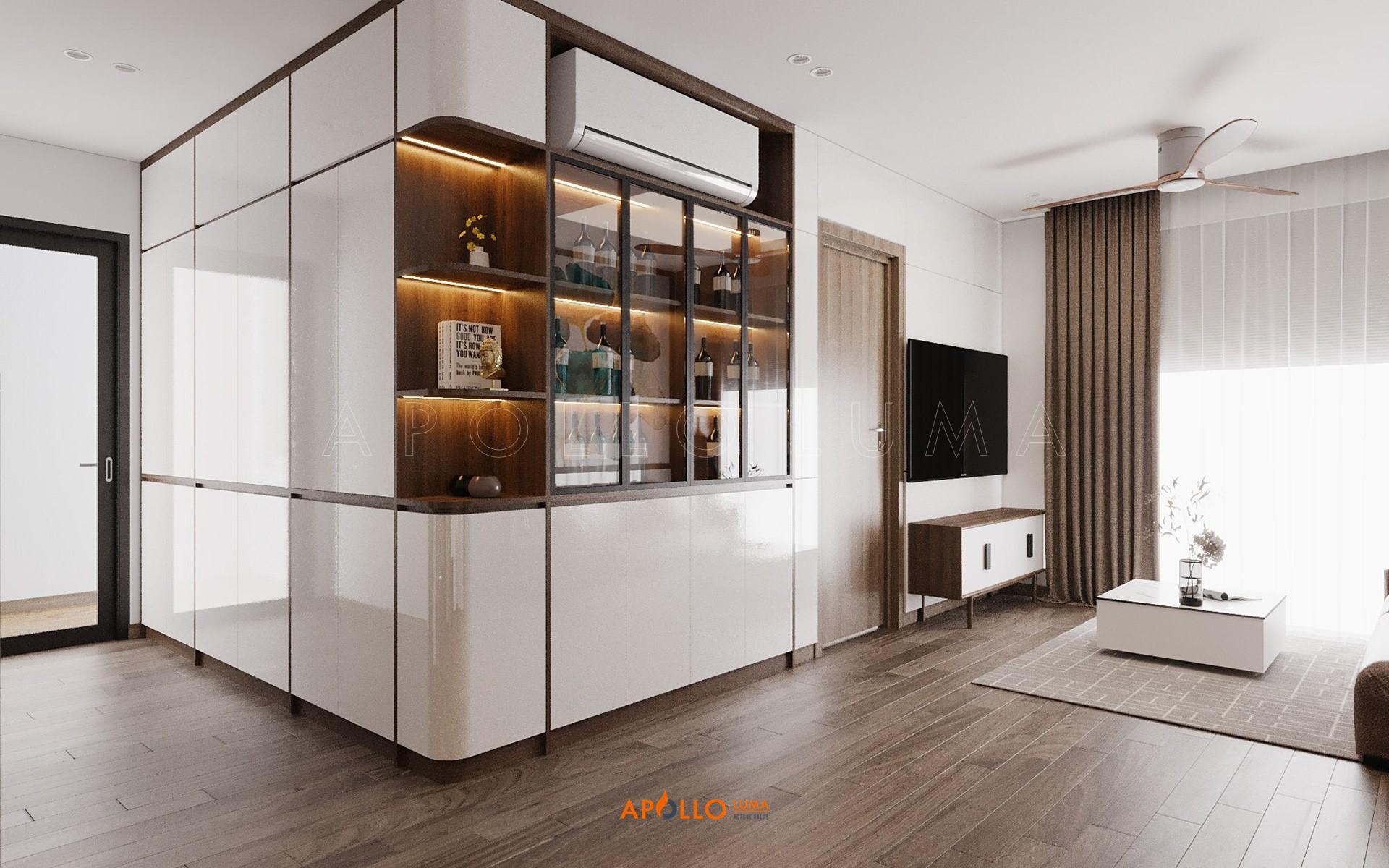 Thiết kế nội thất căn hộ 2PN+2WC (căn giữa) S1.01-15A Vinhomes Ocean Park Gia Lâm