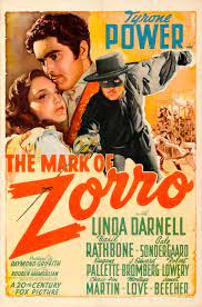 Movie poster for The Mark of Zorro (1940).