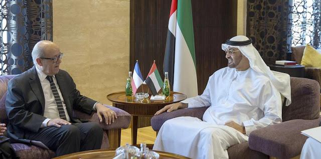 وليّ عهد أبو ظبي يناقش الأزمة الخليجية مع وزير خارجية فرنسا