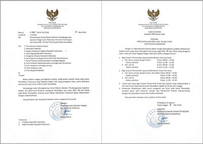 Berikut ini adalah berkas Surat Edaran MENPANRB Nomor  Jam Kerja ASN PNS TNI POLRI Selama Bulan Ramadhan 2018 (1439 H)