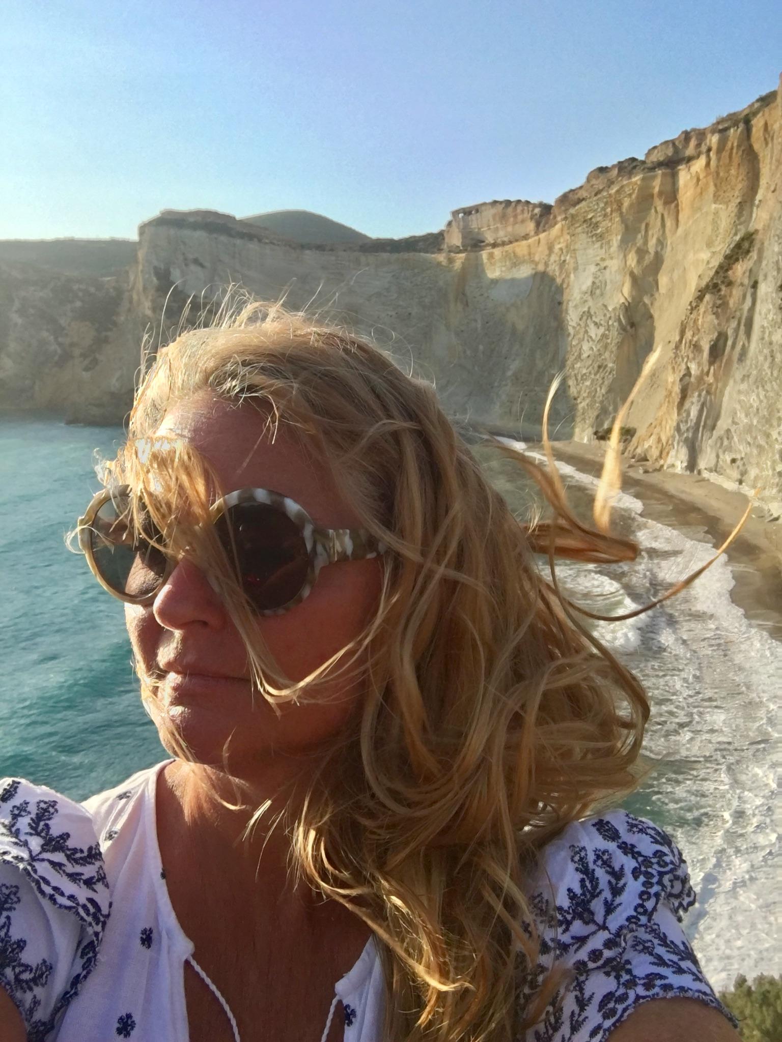 Gillian Longworth McGuire in front of Chiaia di Luna, Ponza