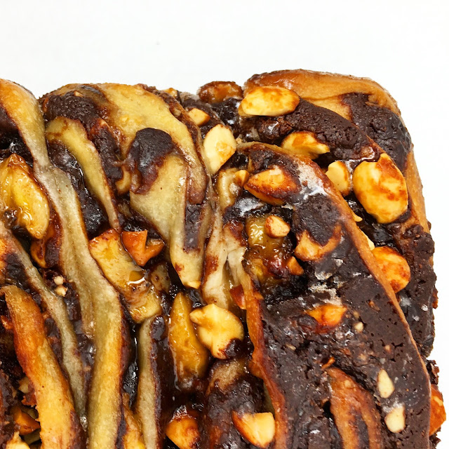 Close Up of Chocolate Peanut Butter Banana Babka