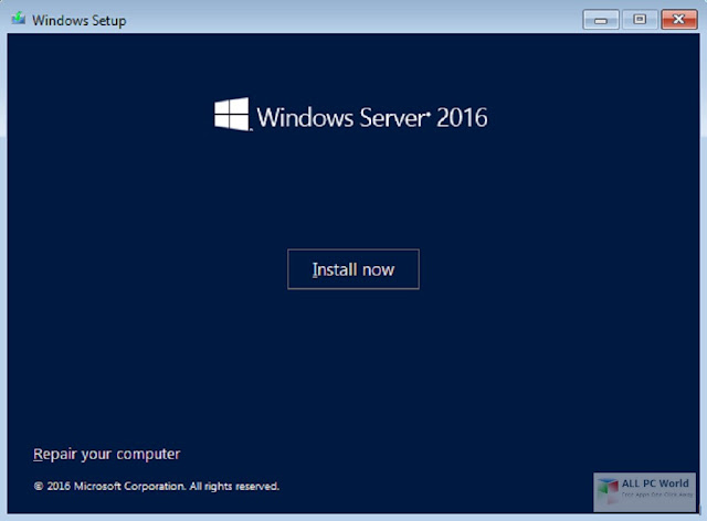 Instal Windows Server 2016