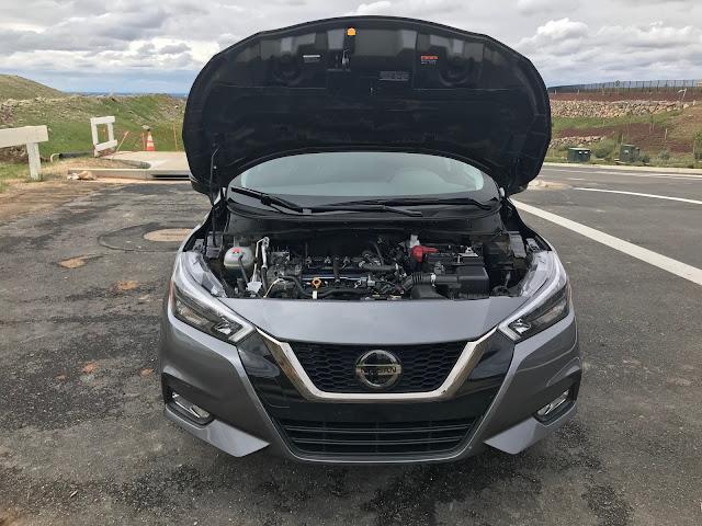 Hood open on 2020 Nissan Versa SR