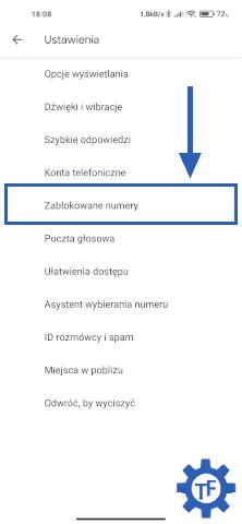 Ustawienia w aplikacji Telefon Google